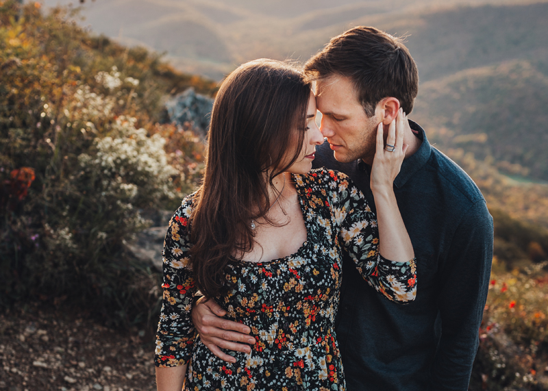 Virginia Family Photographer, couple holding each other close in the mountains